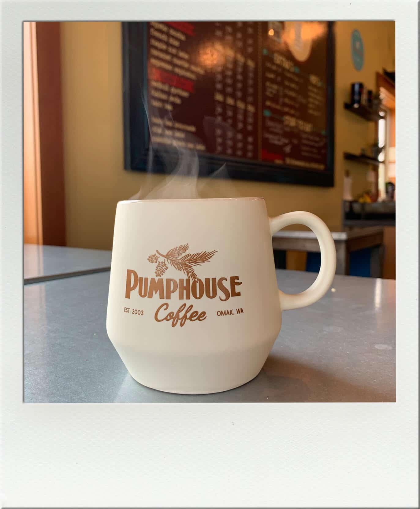 Pumphouse Coffee Company Omak Coffee in a mug