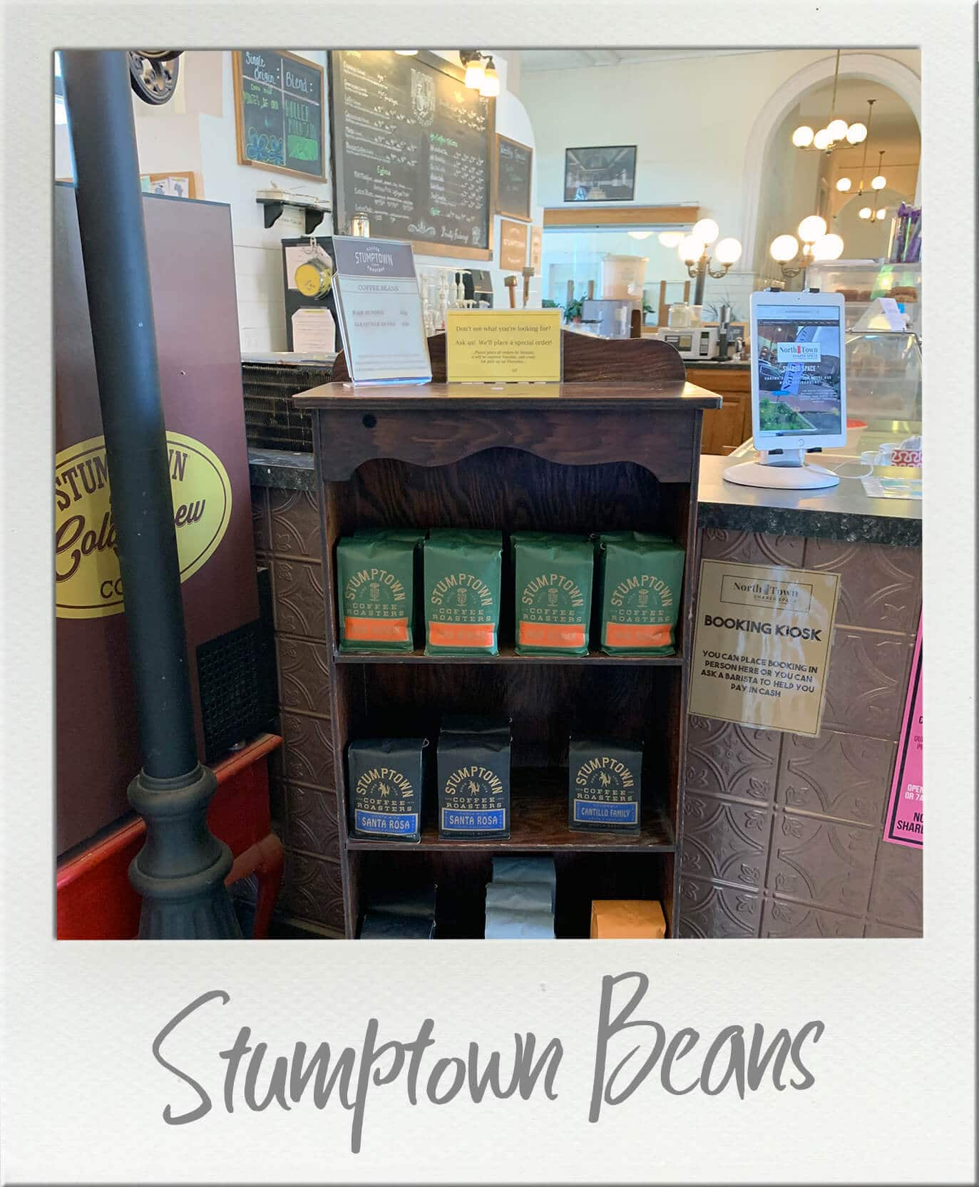 Northtown Coffeehouse Display of Stumptown Coffee Beans for sale