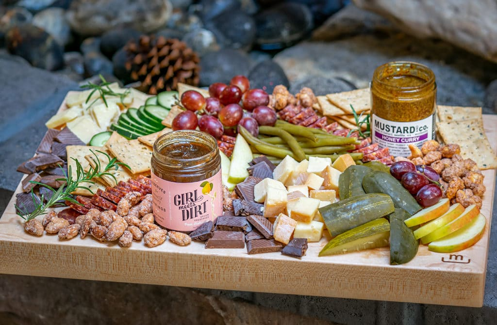 charcuterie board with Washington products